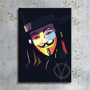V for Vendetta Portre İllüstrasyon Kanvas Tablo TBL1119